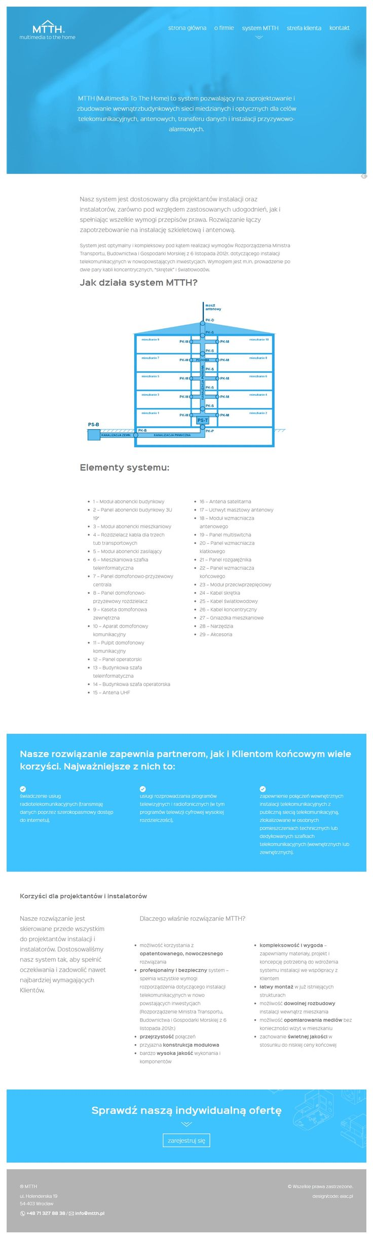 AIAC Agency for MttH (multimedia to the home) | mtth.pl | aiac.pl | #webdesign #website #graphicdesign #neonblue #bluewebsite #www #aiac