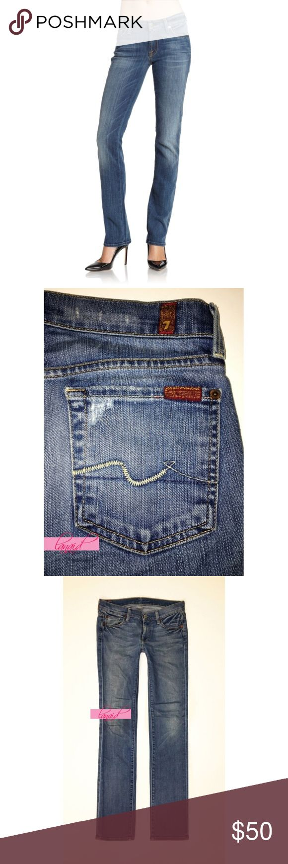 """7FAM Straight Leg New Amsterdam Distressed Jean 26 NO OFFERS. PRICE IS FIRM AND NON-NEGOTIABLE. NO TRADES OR HOLDS. AUTHENTIC 7 For All Mankind """"Straight"""" jeans in New Amsterdam, size 26. Signature 7FAM squiggle on back pockets. Marked """"QC"""" on the inner pocket lining--this stands for """"Quantity Control,"""" 7 For All Mankind's way of labeling overstock. All distressing is intentional. Perfect staple for your closet. 7 For All Mankind Jeans Straight Leg"""