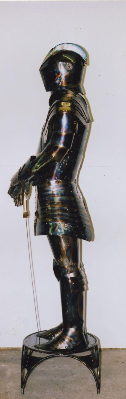 #Steel #sculpture by #sculptor John Douglas Joyce titled: 'Knight (Contemporary Modern Realistic Steel Armour statue sculpture)'. #JohnDouglasJoyce