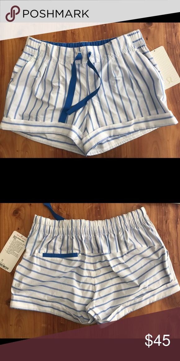 Spring Break Away Short White with blue stripes. Version 1. NWT bought on here and they look awful on me lululemon athletica Shorts Skorts