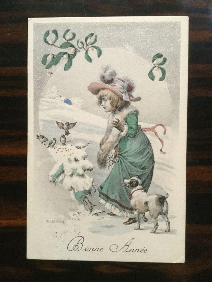Bonne Année  日本の新年を祝う 縁起の良い植物の定番といえば 松竹梅、南天、千両万両などなど フランスでもそのような植物がいくつかありますがその一つが 「ヤドリギ」 新年のカードには沢山登場します。 この愛らしいカードもその一つ 消印と宛名書きから 1906年の12月31日に ジュネーブからリヨンの向けて 送られたことがわかります。 #アンティークポストカード #ヤドリギ #Gallery壹 #新年 #bonneannée #cartepostale #gui #年賀状 #アンティーク #紙もの