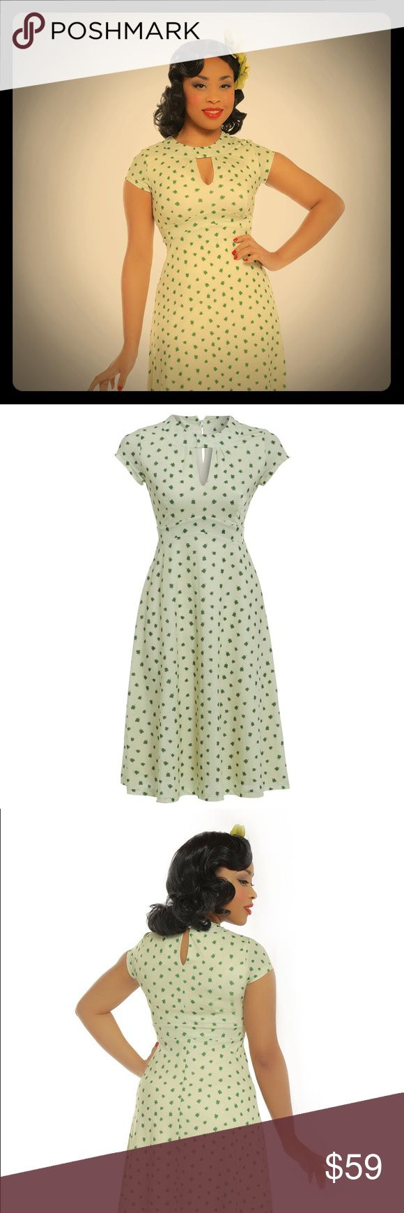 Lucky Clover Pinup Retro Dress NWT 14W 16W 1X Kelly and spring green 4 clovers on off white background. Stretch knit overhead styling with keyhole front and back, single button closure on back of neck. Lined. SUPER cute, have to see in person!! NWT, size UK 3X which is a  14W/16W or 1X USA size. Modcloth tagged for exposure.  ModCloth Dresses Midi