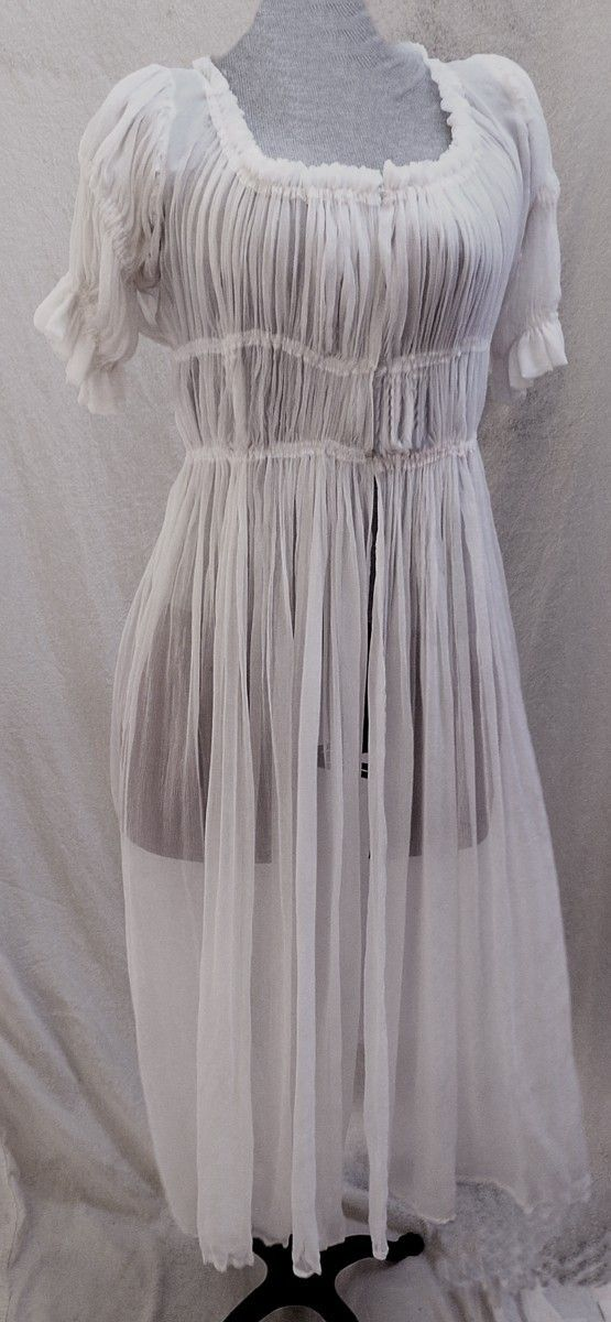 Women's 18th century Silk Chiffon Chemise by SatinShadowDesigns