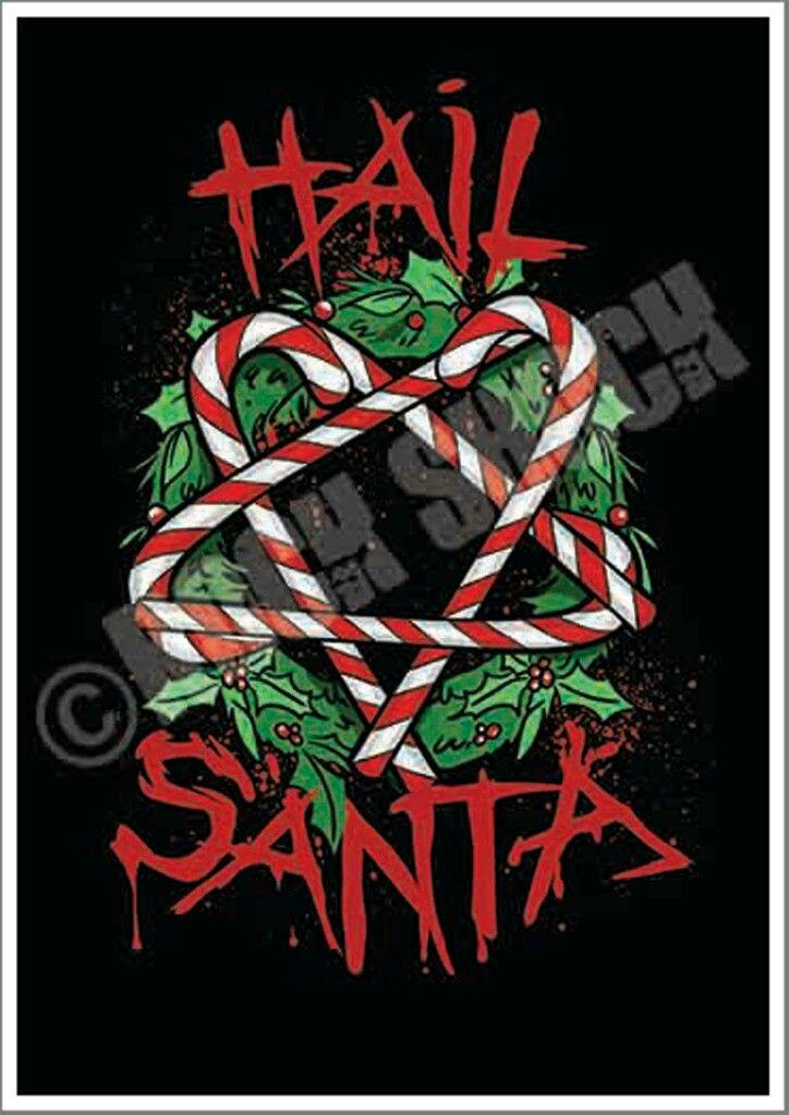 HAIL SANTA Funny Christmas Greeting Card (£4.99) www.etsy.com/uk/shop/RockShockUK #hailsanta #hailsatan #funnychrustmascards #xmasgreetingcards #xmasslogan #satan #witch #pagan #wreath #candycane #greetingcards #funnygreetingcards #badsanta #evilxmas