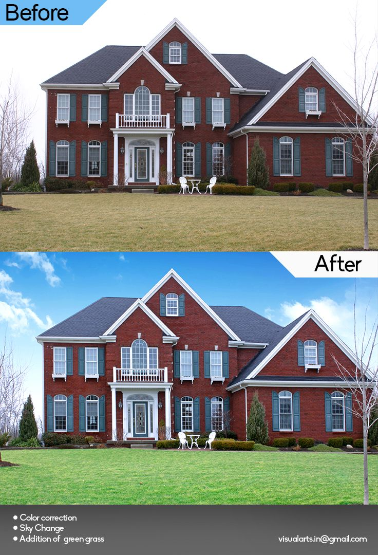 Real Estate image editing such as change in sky, better colour correction, adding green grass etc...