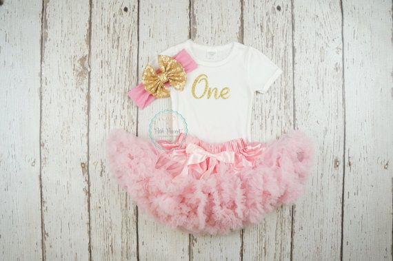 pink and gold first birthday outfit first by PoshPeanutKids