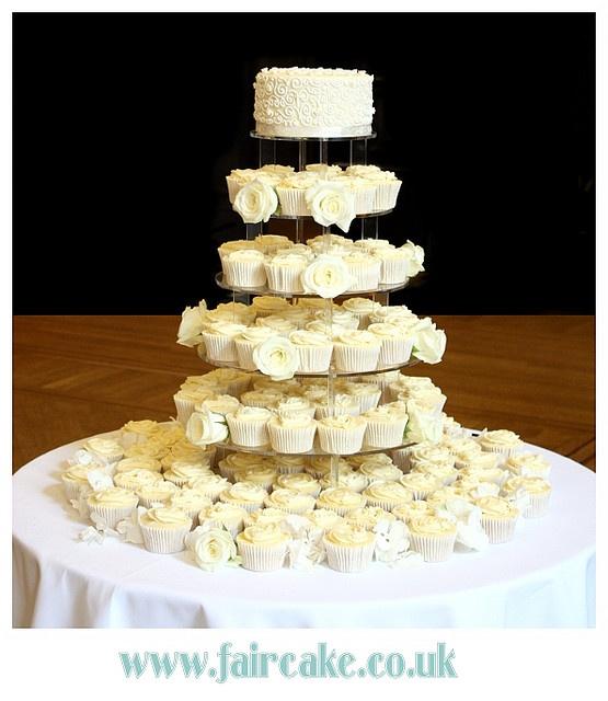 White Wedding Cupcake Tower by Fair Cake, via Flickr