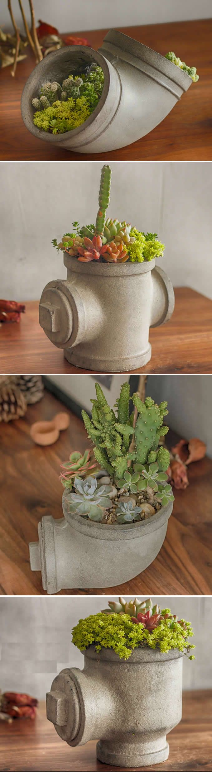 Handmade Concrete Water Pipe Succulent / Planter / Plant Pot / Flower Pot
