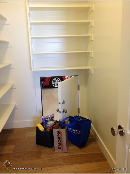 If your garage is adjacent to your kitchen or pantry, insert a small door for a super easy way to load groceries.