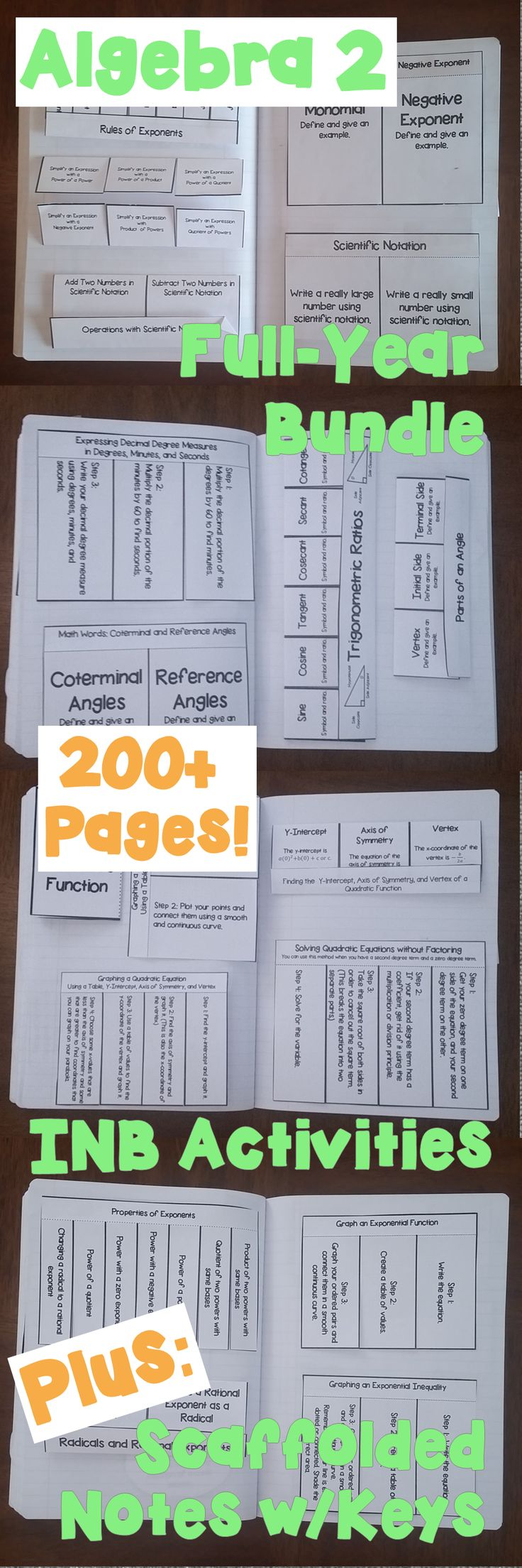 Packed full of interactive notebook activities for Algebra 2/Integrated Math students, this HUGE bundle also includes scaffolded notes w/answer keys.  Includes the following sections: Solving Equations & Inequalities, Linear Relations & Functions, Solving Systems of Equations in 2 and 3 Variables, Matrices, Polynomials, Trig Functions, Quadratic Functions, Conic Sections, Polynomial Functions, and more! #inb #algebra2 #scaffoldednotes $