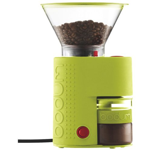 Freshly grind coffee beans with the Bodum Bistro Electric Burr Coffee Grinder. Also available in red and black.