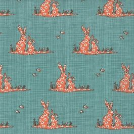 Moda Novelty Bunnies Orange/ Turquoise - Bluebird Park Teal by Kate Birdie