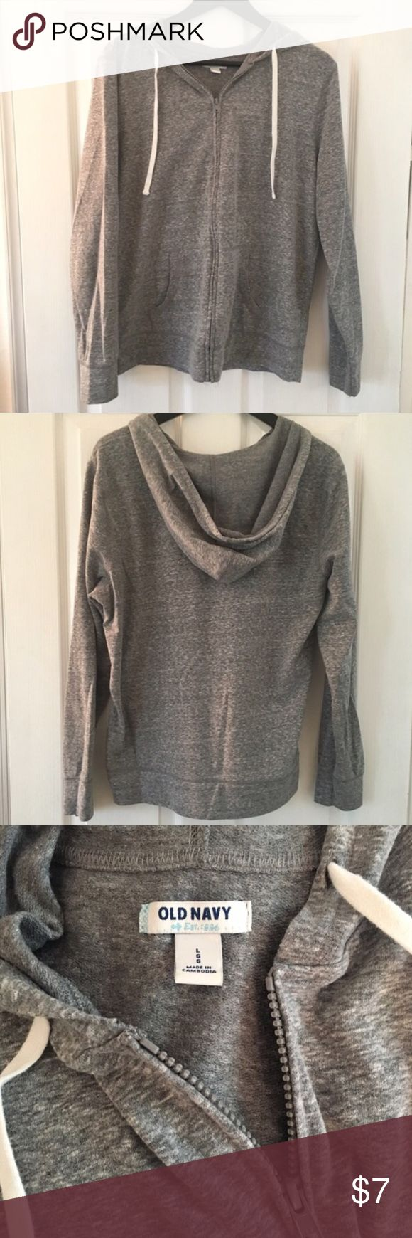 Relisting: Old Navy gray zip-up Women's size large lightweight cotton gray zip-up hoodie from Old Navy. Great condition, zipper works perfectly. Sleeves are on the shorter side. Old Navy Tops Sweatshirts & Hoodies