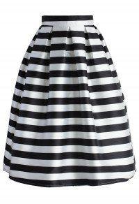 Stripes Full A-line Midi Skirt