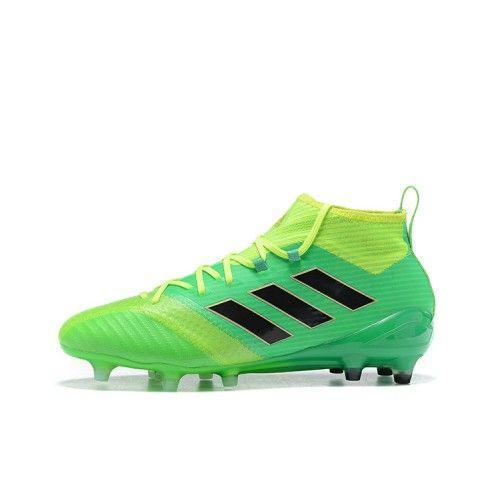 Shop for Billige Adidas ACE 17.1 FG Mænd Fodboldstøvler Grøn Gul Sort til salg.