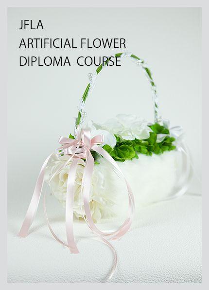 JFLA Artificial Flower Diploma Class.Wedding Bag Arrangement.アーティフィシャルフラワー認定資格取得クラスで学ぶバッグアレンジメントです。