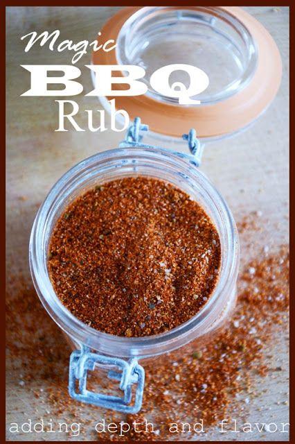 Magic BBQ Rub - need - dried chives - cayenne - cumin -chili powder - onion powder - garlic powder - paprika - brown sugar