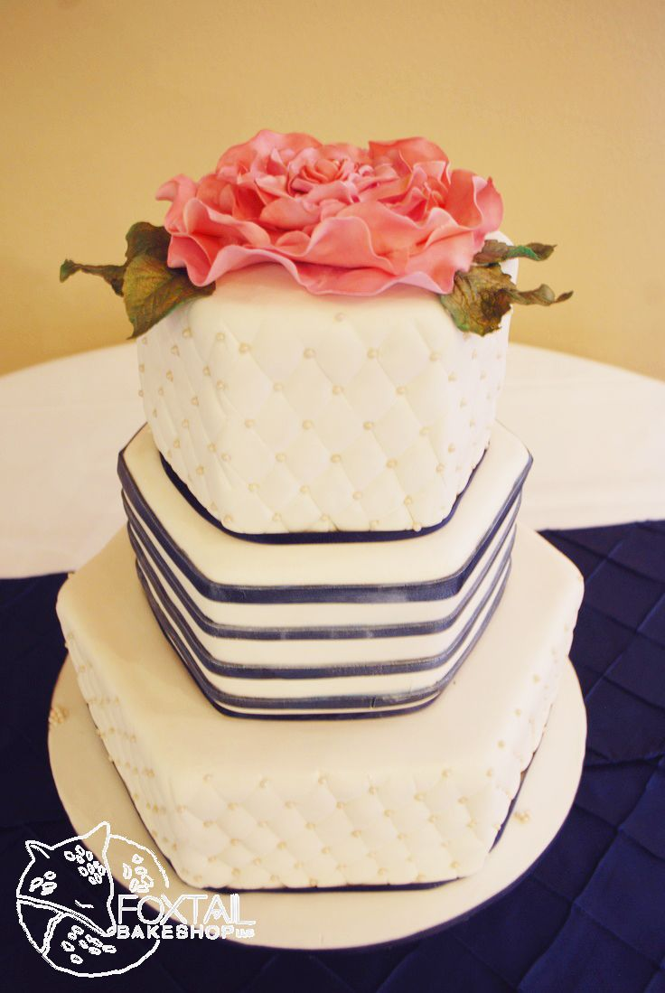 Five Pines Navy Blue with Large open rose on top Wedding Cake.  Central oregon Wedding Cake.  foxtailbakeshop.com
