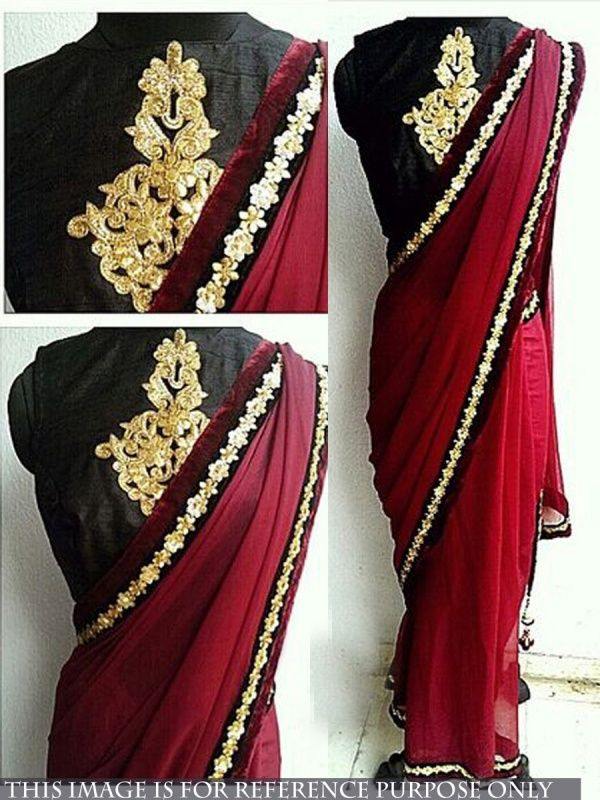 Attractive Maroon Georgette Designer Saree with Black Color Row Silk Blouse. It Contained the work of Zari, Embroidery with Lace Border. The Blouse can be customized up to bust size 44