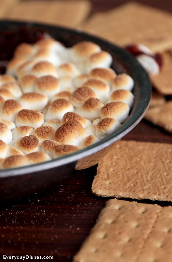 Skillet s'mores are even better than the real thing! This recipe neatly contains the goo in a single pan, but the ingredients are there, ready for the dipping. While we're partial to the cinnamon sugar-coated graham crackers, you might want to save your children from total sugar-shock and serve the plain ones instead.