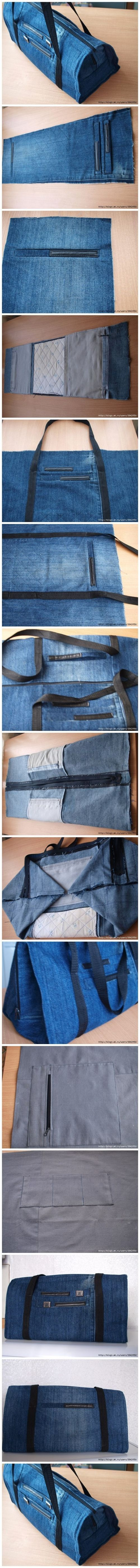 How to sew DIY handbags with recycled jeans step by step tutorial instructions / How To Instructions