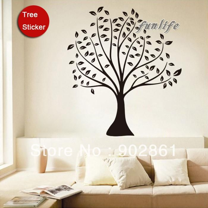 Funlife 110x87cm43x34in DIY Removable Huge Bodhi Tree Budda Art Mural Wall Sticker Decals For Study