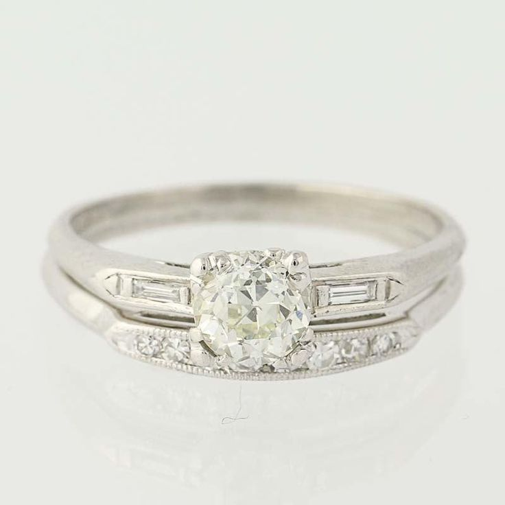 Art Deco Diamond Engagement Ring & Wedding Band - 900 Platinum Mine Cut .95ctw Unique Engagement Ring N6542