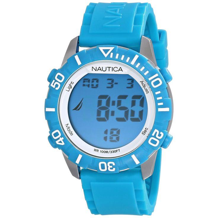 Nautica N09929G Light Blue Digital Watch Rubber Silicone Strap Indiglo Light