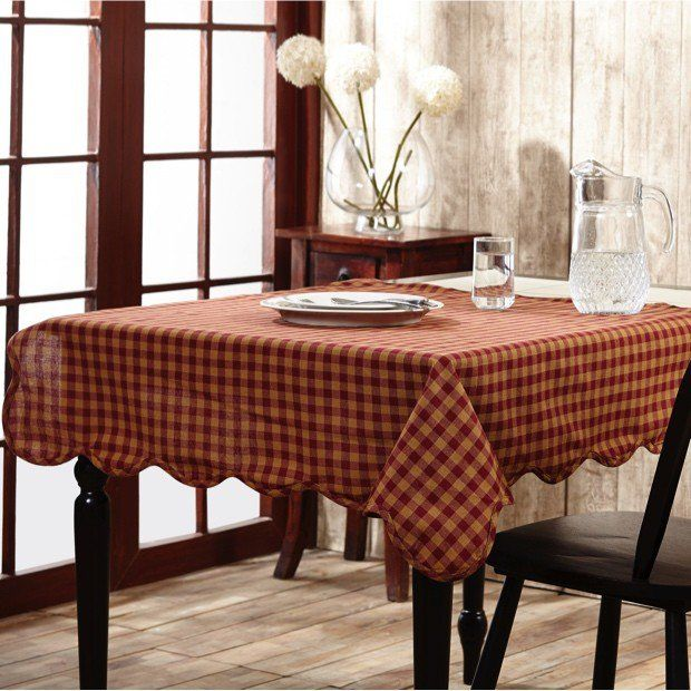 Burgundy Checked Cotton Tablecloth