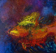"""""""Рыба"""", холст 80х75, масло, мастихин, художник Елена Поданева, art"""