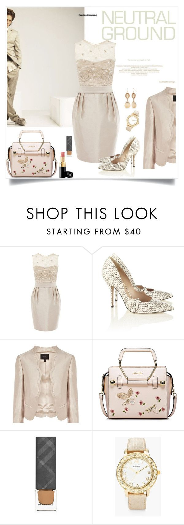 """Lady"" by hani-bgd ❤ liked on Polyvore featuring Coast, Paul Andrew, Burberry, Chico's, Ruby Rd. and neutrals"