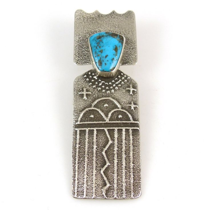 """Tufa Cast Sterling Silver """"Rain Maiden"""" Pendant with Rain Cloud and Lightning Designs and set with Natural Morenci Turquoise from Arizona. 1"""" Width, 3.125"""" Height"""