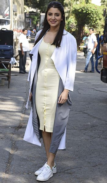 Anushka Sharma in an H&M dress and a Deme by Gabriella jacket