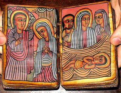 ETHIOPIAN Coptic BIBLE Manuscript ANTIQUE Handwritten