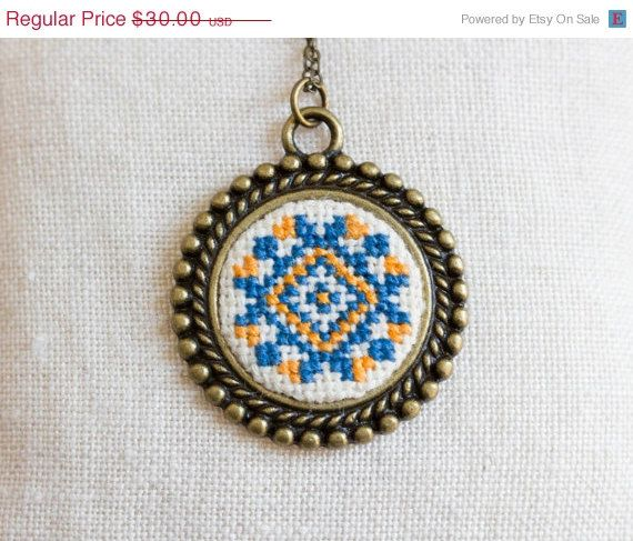 Cross stitch Ethnic necklace - Ukrainian folk embroidery - Blue and Orange - Ethnic collection by Skrynka n064