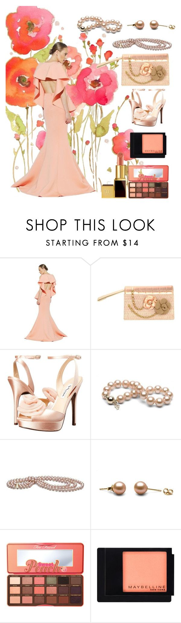 """""""peach gown"""" by aries-indonesia ❤ liked on Polyvore featuring Chanel, Nina, Too Faced Cosmetics, Maybelline and Tom Ford"""