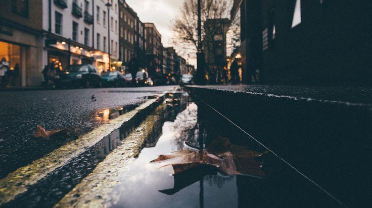 Скачать обои улица, лужа, листья, зеркало, раздел город в разрешении 1366x768
