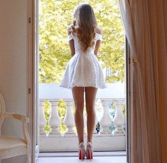 dress white off the shoulder fashion heels long hair sexy little white dress off…