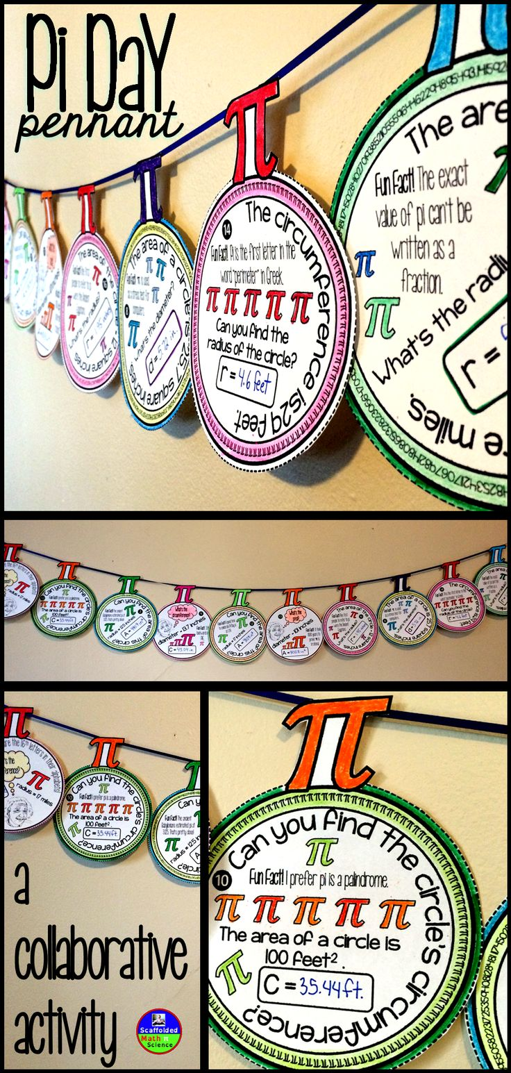 A math pennant for Pi Day! In this fun collaborative activity for Pi Day, students work with the circle formulas to find area, circumference, radius and diameter. Each pennant also includes a Fun Fact that students can read as they complete their circle problems. Once a pennant is complete, it can be hung along a string in your classroom to celebrate Pi Day! #piday #mathpennant