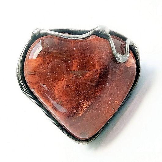 Glass heart - charming ring. Nice gift :)   // Szklane serce - pierścionek uroczy