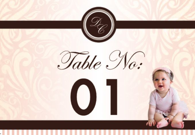 Private Christening | Table Number Design