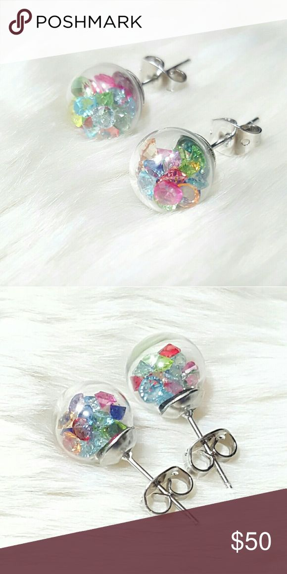 ⤵⤵Wishing Glass Earrings Swarovski Mixed Elements Welcome!   One Of The Kind Elegant Gorgeous Beautiful New 10 mm Round Wishing Glass Earrings w. Swarovski Crystal Elements & Silver Plated.  Order Included: 1 Pair x 10mm Round Wishing Glass Earrings w. Swarovski Elements Crystal & Silver Plated Studs  Fast Shipping  Free House Gift (while supplies last) Special Wrapping  Come visit for great selection of high end handbag accessories, twilly, purse replacement chain gold, silver or titanium…