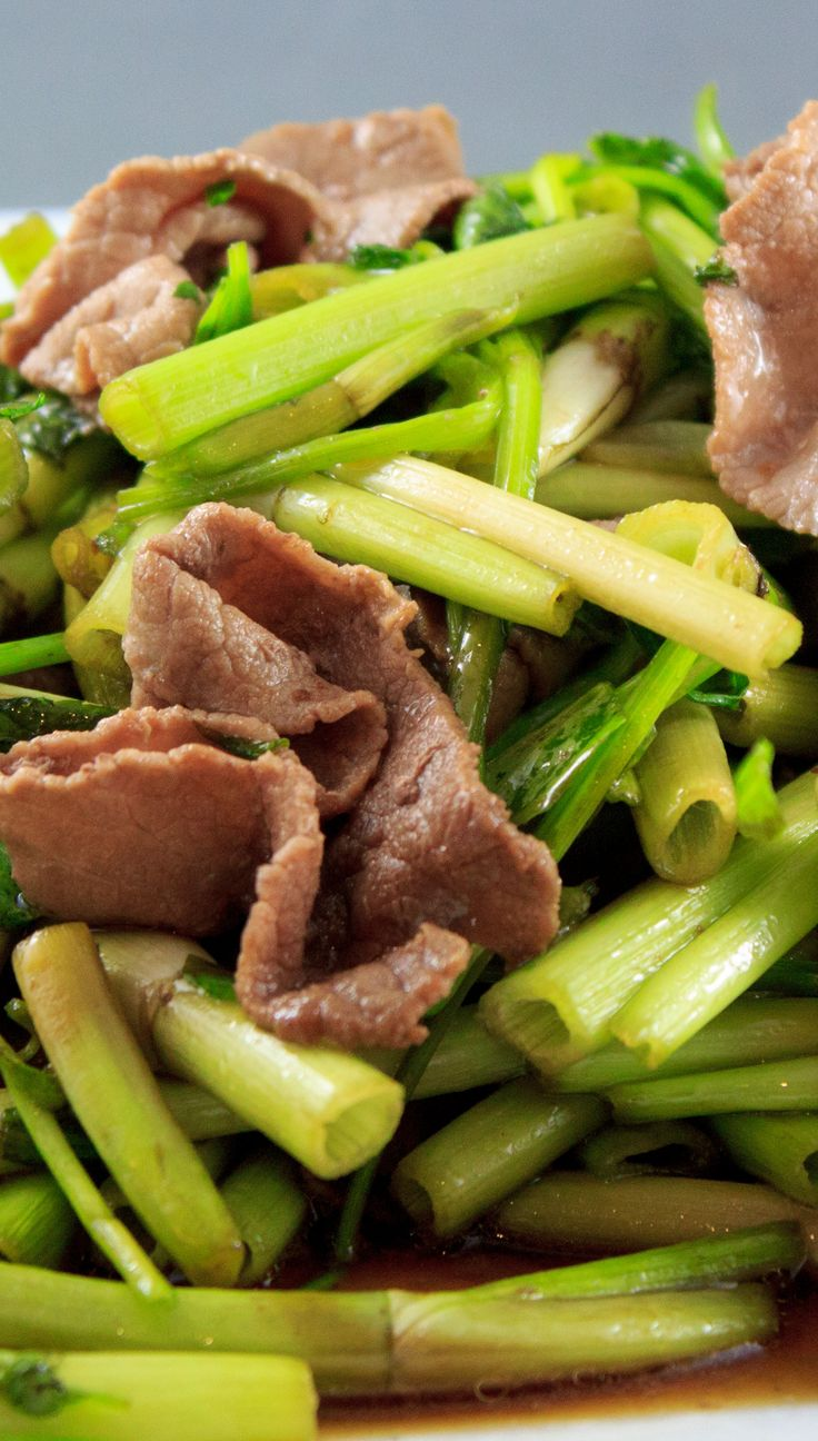 Thịt bò xào rau cần  - Sautéed Water celery flavoured with beef,  part of our month long special menu