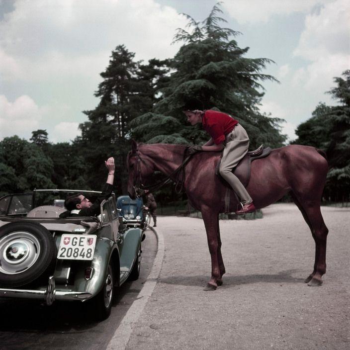 Robert Capa - Paris. 1953. Gen X girl, Colette Laurent, on a horse.