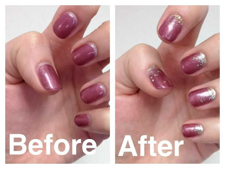 How to make your gel / shellac manicure last longer. Use glitter polish to fill in the outgrowth and fade out onto existing shellac polish