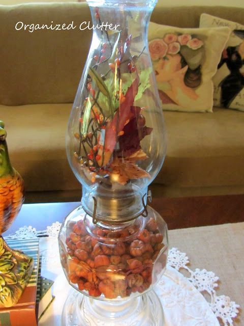 Adding A Little Autumn to Vintage Oil Lamps. ALL seasons would work great. I can just imagine how beautiful a Christmas one would look.