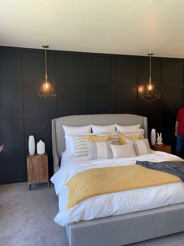 dark wall w diy paneling behind bed  bedroom wall bed