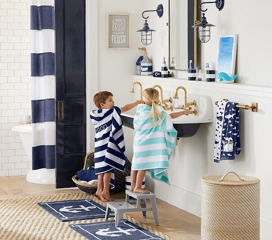 Rugby Stripe Bath Wraps | Pottery Barn Kids