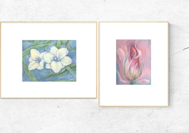 Small FLOWER ART PRINTS In Pink+White+Blue by WHISPbyAdri on Etsy