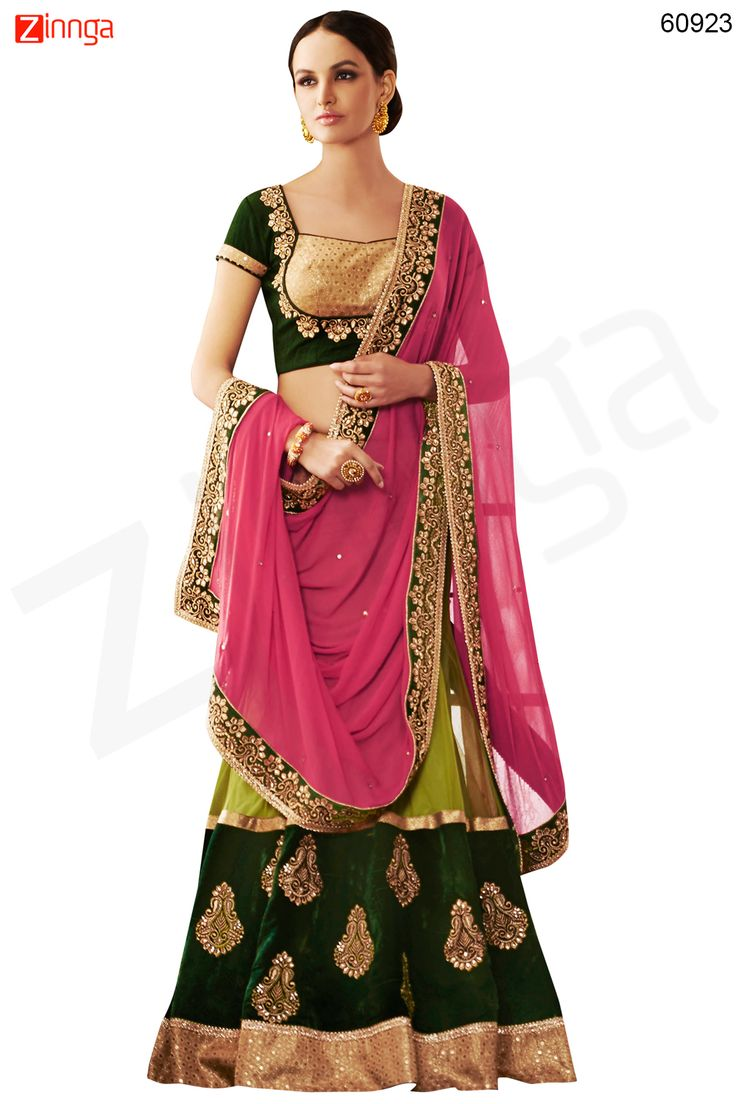 Women's Pretty A Line Lehenga Style in Green Color Message/call/WhatsApp at +91-9246261661